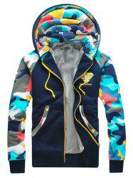 Camouflage Splicing Zip Up Flocking Hoodie -