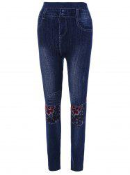 High Waisted Flower Print Ninth Jeggings -