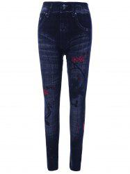 Flower Print Skinny High Waisted Jeggings - DEEP BLUE ONE SIZE