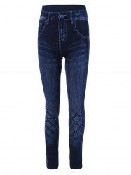 Grid Print Skinny High Rise Jeggings