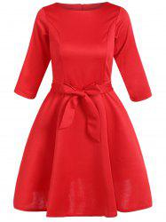 Slim Fit Bowknot Tied Belt Swing Dress - RED 2XL