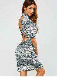 Cut Out Criss Cross Ethnic Print Dress
