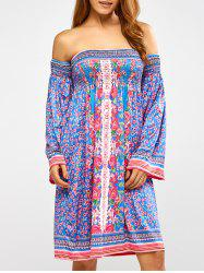Long Sleeve Floral Print Off Shoulder Shift Dress - LAKE BLUE XL
