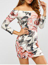 Long Sleeve Off Shoulder Floral Print Dress