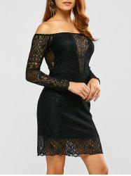 Lace Off Shoulder Bodycon Night Out Dress - BLACK