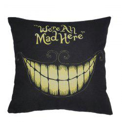 Halloween Teeth Pattern Sofa Cushion Linen Pillow Case - BLACK