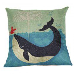 Cartoon Dolphin Printed Sofa Cushion Linen Pillow Case - BLUE