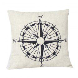 Compass Pattern Sofa Cushion Linen Pillow Case -