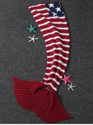 Thicken American Flag Design Knitted Mermaid Tail Blanket