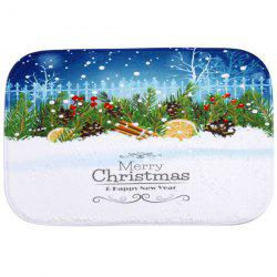 Winter Snow Antiskid Water Absorb Christmas Carpet For Bathroom - BLUE