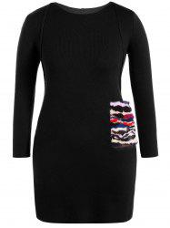 Faux Fur Trim Sweater Dress