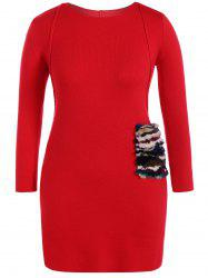 Faux Fur Trim Sweater Dress -