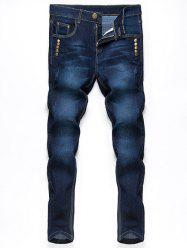 Button Embellished Zip Fly Jeans in Taper Fit