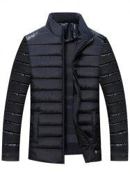 Zip Up PU Leather Panel Padded Jacket
