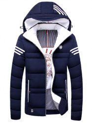 Zip Up Striped Hooded Padded Jacket -