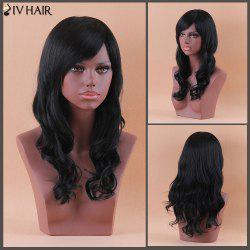 Siv Long Oblique Bang Shaggy Wavy Human Hair Wig - JET BLACK 01#