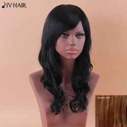 Siv Long Oblique Bang Shaggy Wavy Human Hair Wig -