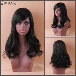Siv Long Fluffy Wavy Inclined Bang Human Hair Wig -