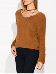 Lace Up Fuzzy Sweater -