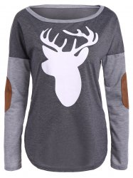 Christmas Elbow Patch Reindeer Print Tee