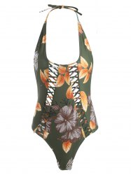 Floral Print Criss Cross Backless Swimwear - GREEN XL