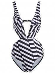 Plunging Neck Striped Backless Swimwear - STRIPE L