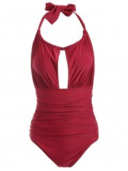 Halter Ruched Backless Swimwear - RED XL