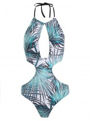 Halter Printed Backless Swimwear