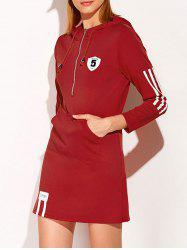 Hooded Zip Striped 5 Graphic Dress - DEEP RED