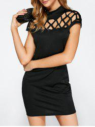 Hollow Out Bandage Bodycon Mini Club Dress - BLACK XL