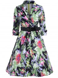 Flower Print Belted Swing Dress