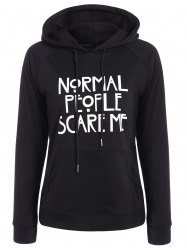 Pullover Funny Print Drawstring Hoodie - BLACK
