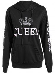 Pullover Queen Print Drawstring Hoodie - BLACK 2XL