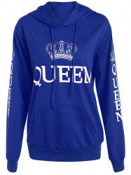 Pullover Queen Print Drawstring Hoodie