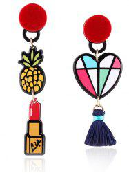 Asymmetric Lipstick Tassel Heart Drop Earrings - COLORMIX