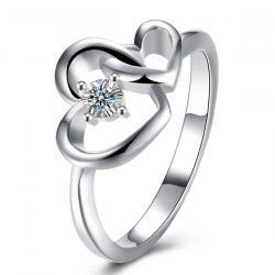 Rhinestone Double Love Heart Ring - SILVER