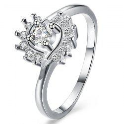 Rhinestoned Flower Ring - SILVER