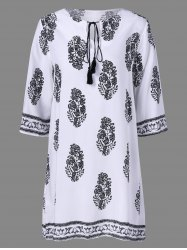 Casual Print Peasant Shift Dress - WHITE S