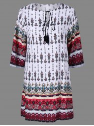 Imprimer ethnique Peasant Dress - Multicolore