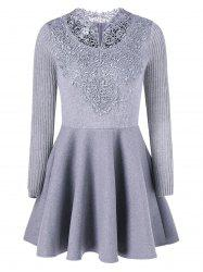 Lace Insert Knit Fit And Flare Dress - GRAY