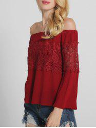 Lace Spliced Openwork Off The Shoulder Blouse
