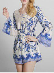 Bohemian Printed Criss Cross Long Sleeve Romper