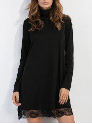 High Neck Mesh Trim Long Sleeve Dress - BLACK XL