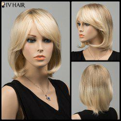 Gorgeous Short Side Bang Straight Siv Human Hair Wig - COLORMIX