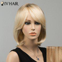 Gorgeous Short Side Bang Straight Siv Human Hair Wig - BLONDE