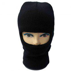 Outdoor Knit Face Mask Neck Warmer Ski Cap - Noir