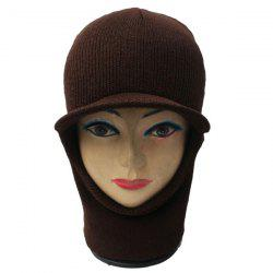 Elastic Knit Face Mask Neck with Brim Warmer Ski Cap - COFFEE