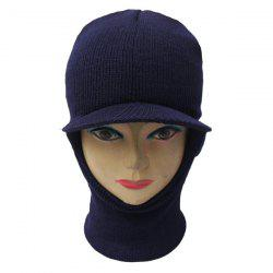 Elastic Knit Face Mask Neck with Brim Warmer Ski Cap