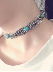 Vintage Alloy Faux Turquoise Choker Necklace