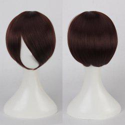 Short Side Bang Straight Cosplay Synthetic Wig - DEEP BROWN